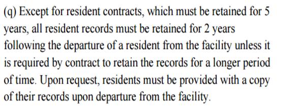 Resident Record AHCA regulation
