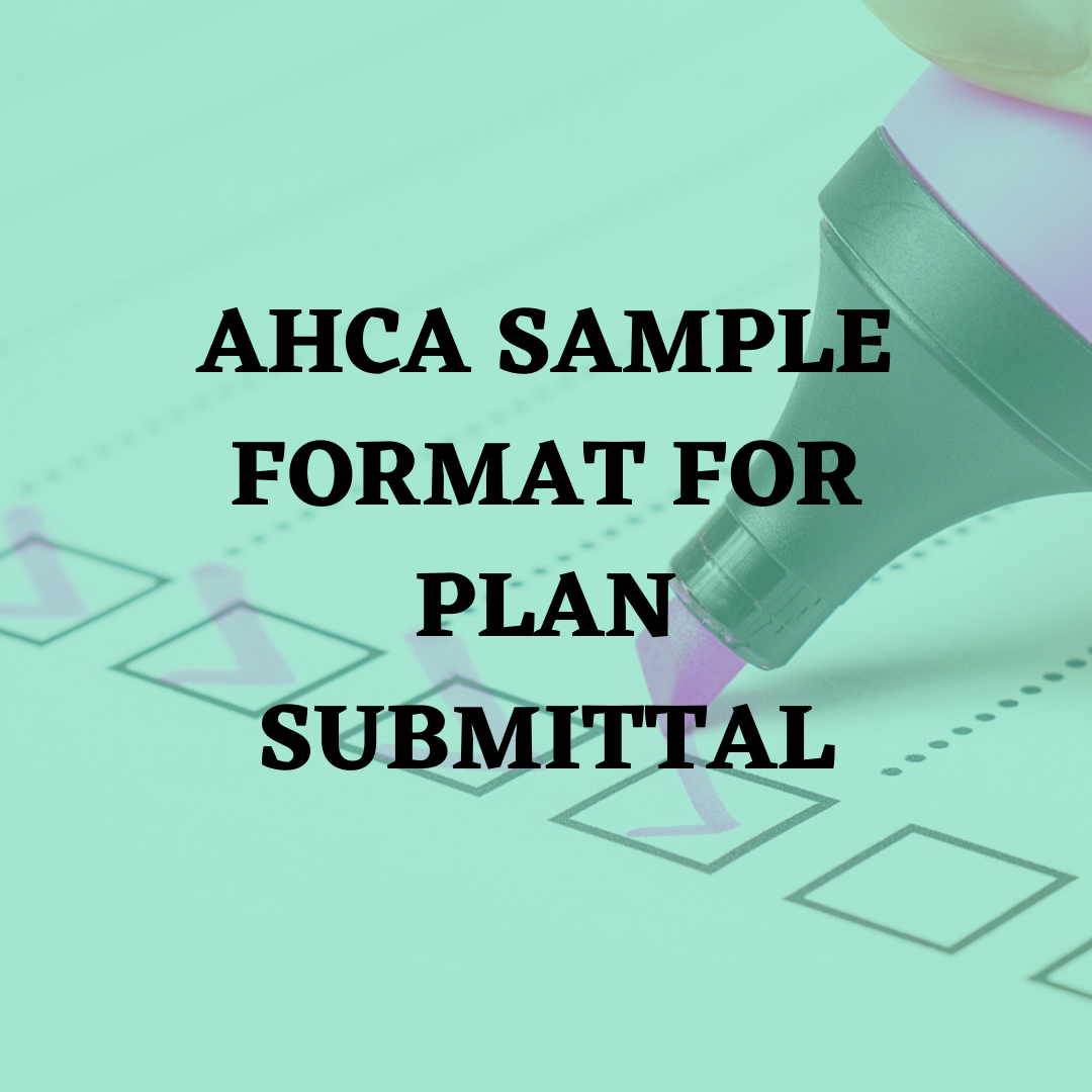 AHCA SAMPLE FORMAT FOR PLAN SUBMITTAL