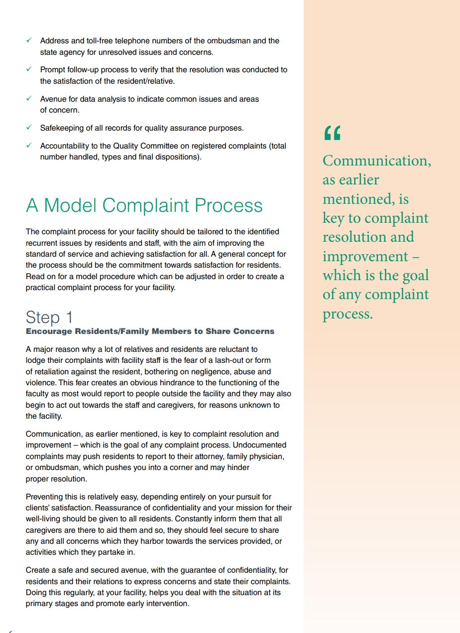 model complaint process